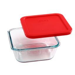Pyrex® Refractario de vidrio cuadrado 946 ml.con tapa roja